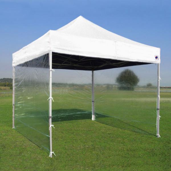 イージーアップのイベント用テントに取り付け可能な透明な横幕です。